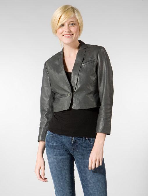Whyred Benoite Light Leather Jacket in Dark Grey