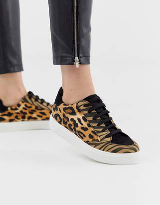 Asos Design DESIGN Dove lace up sneakers in leopard mix