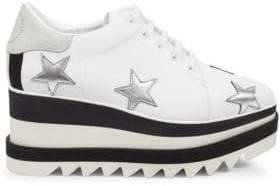 Stella McCartney Star Embroidered Sneaker Wedges