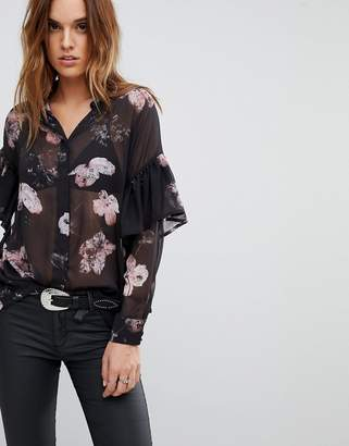 Religion Sheer Shirt In Floral