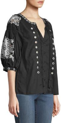 Neiman Marcus Artisan Embroidered Button-Front Blouse