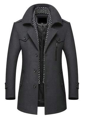 ouxiuli Men's Single Breasted Wool Blend Pea Coat Business Jacket Overcoat Topcoat M