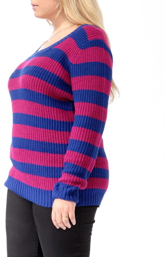 Forever 21 Plus Size Striped Button Back Sweater