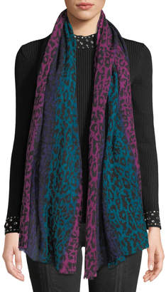 Neiman Marcus Ombre Animal-Print Sheer Wool Scarf
