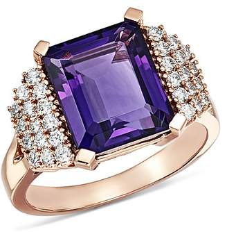 Bloomingdale's Amethyst & Diamond Row Statement Ring in 14K Rose Gold - 100% Exclusive