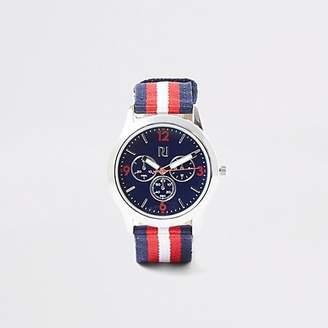 River Island Boys navy stripe canvas strap watch