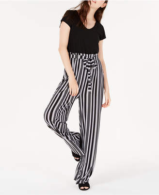 8895c7ba39f4 Ultra Flirt Juniors  Striped Paperbag-Waist Jumpsuit