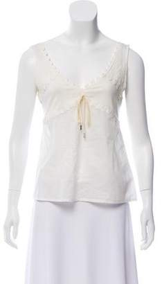 John Galliano Eyelet-Accented Sleeveless Top