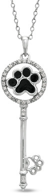 ASPCA® Tender Voices® 1/10 CT. T.W. Diamond Black Enamel Paw Key Pendant in Sterling Silver