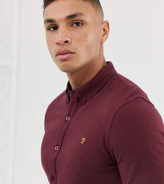 Farah Kompis slim fit pique jersey shirt in burgundy Exclusive at ASOS