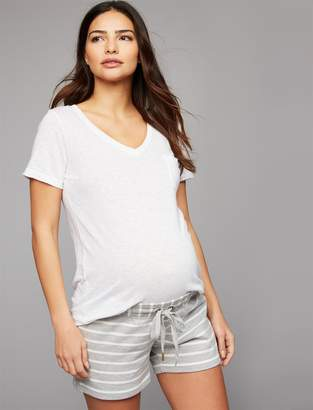 A Pea in the Pod Under Belly French Terry Skinny Leg Maternity Shorts