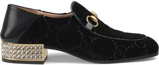 Gucci Horsebit GG velvet loafers with crystals