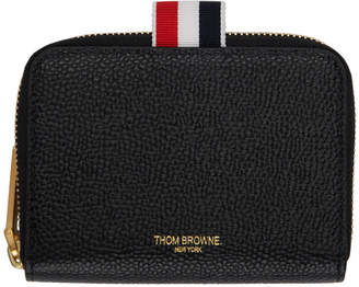 Thom Browne Black Slim Short Zip Around Purse Wallet