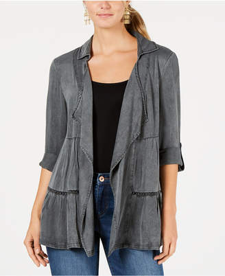 Style&Co. Style & Co Tiered Roll-Tab Sleeve Jacket