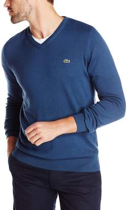 Lacoste Men's Classic Long Sleeve Cotton Jersey V Neck Sweater