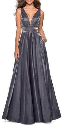 La Femme Plunge-Neck Sleeveless Two-Tone Satin Ball Gown with Rhinestone Bodice
