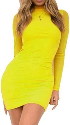 Sunfury Sheer Long Sleeve Slim Fit Body Con Tunic Pencil Mini Dress for Women M