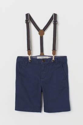 H&M Chino Shorts with Suspenders - Blue
