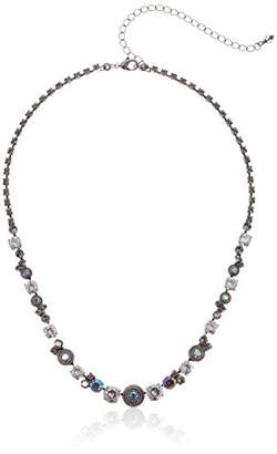 Sorrelli Core Antique Silver Tone Crystal Rock Macrame Line Necklace
