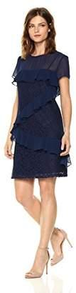 Donna Morgan Women's Short Sleeve Chiffon Shift with Lace Detail
