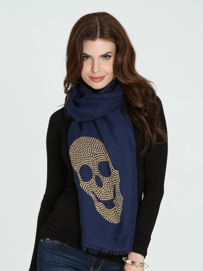 Arden B Metal Studded Scull Scarf