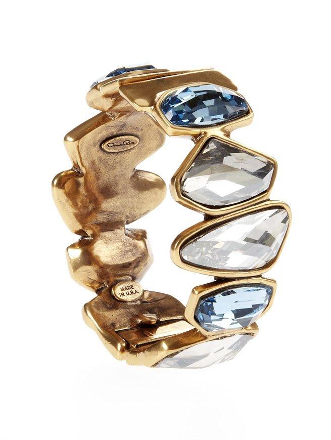 Oscar de la Renta Swarovski Abstract Faceted Crystal Bracelet