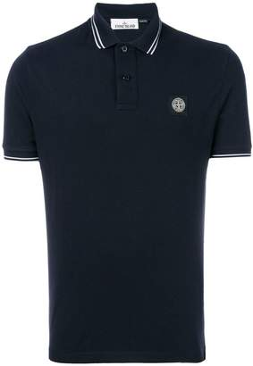 Stone Island striped trim polo shirt