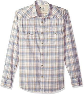 Lucky Brand Men's Casual Long Sleeve Plaid Western Button Down Shirt in Multi