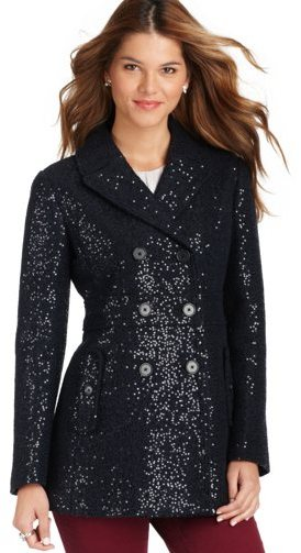 LOFT Sequin Boiled Wool Blend Pea Coat