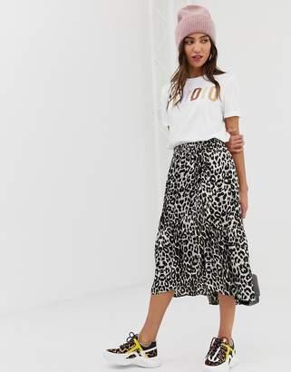 Pieces satin leopard midi skirt