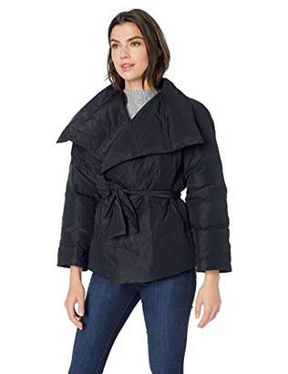 Lark & Ro Amazon Brand Women's Long Sleeve Short Puffer Coat with Wrap