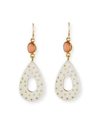 Ashley Pittman Bendi Light Horn & Coral Teardrop Earrings