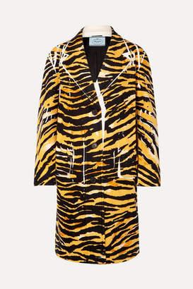 Prada Printed Cotton-blend Coat - Black