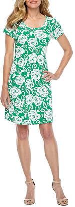 Ronni Nicole Short Sleeve Floral Puff Print Shift Dress