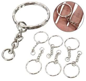 mtqsun 100Pcs 55mm Keyring Blanks Tone Collectibles Keychain Key Fob Split Rings 4 Link Chain Silver