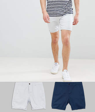 Asos DESIGN 2 Pack Skinny Chino Shorts In Midnight Blue & Ice Gray Save