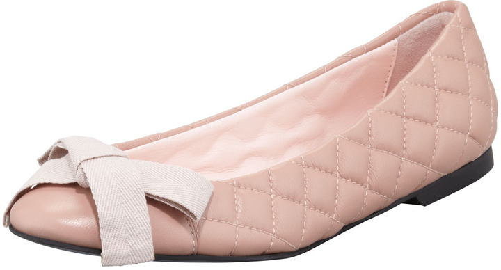 RED Valentino Quilted Bow-Top Ballerina Flat, Pink