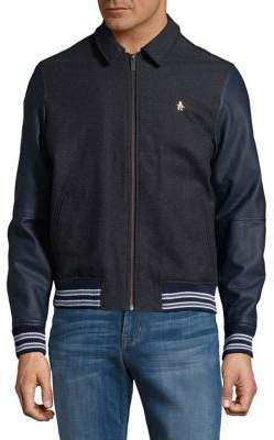 Original Penguin Coated Sleeves Varsity Jacket