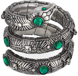 Gucci Triple wrap snake bracelet with crystals