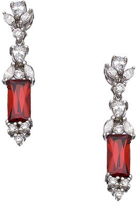 Tang and Song Sterling Silver Garnet and Diamond Drop Earrings