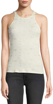 Elizabeth and James Berta Sleeveless Printed Waffle-Knit Tank