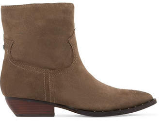 Sam Edelman Ava Studded Embroidered Suede Ankle Boots - Brown