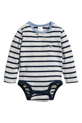 H&M Long-sleeved Cotton Bodysuit - Gray/blue striped - Kids
