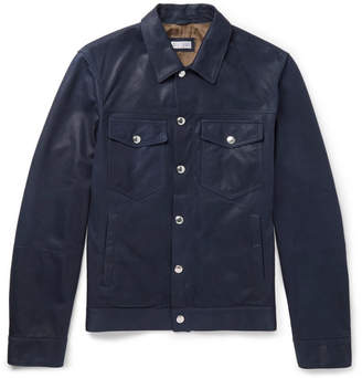 Brunello Cucinelli Leather Trucker Jacket