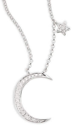 Effy 14K White Gold 0.09TCW Diamond Moon and Star Necklace