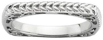 Simply Stacks Sterling Wheat Design Square Band Ring