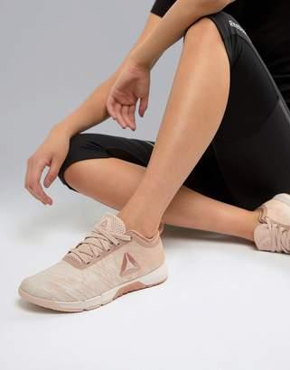 Reebok Training Speed Her Tr Sneakers In Beige With Metallic Logo