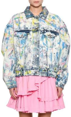 MSGM Tie-Dye Paint-Splatter Oversized Denim Jacket