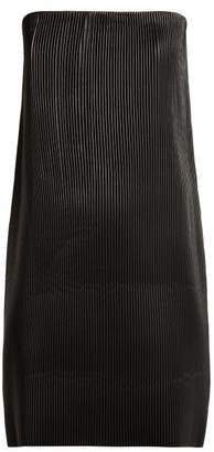 Versace Strapless Pleated Leather Mini Dress - Womens - Black