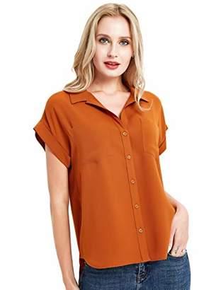 Basic Model Women Sleeveless Shirts Chiffon Button Down V Neck Blouses Office Work Tops(Caramel